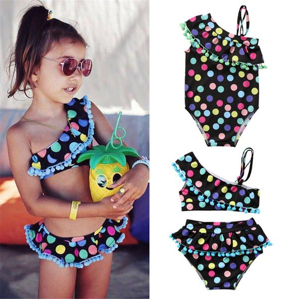 2-7Y lindo de los niños de los bebés multicolor del lunar traje de baño traje de baño de Tankini del bikini Conjunto de una pieza Traje de dos piezas