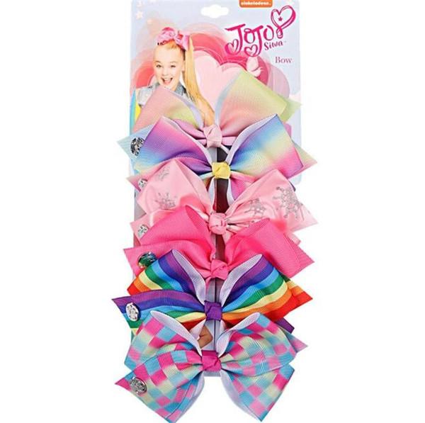 JOJO SIWA 5.6inch LARGE Rainbow Unicorn Signature HAIR BOW with card and sequin logo baby girl Children Hair Accessories fashion hair clip