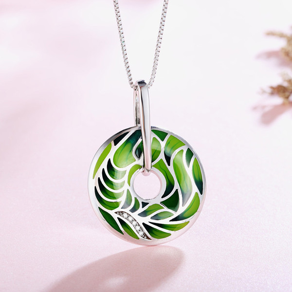 100% 925 Sterling Silver Necklace round cirque Enamel Green leaf necklace pendant for Women Party fashion pendants jewelry