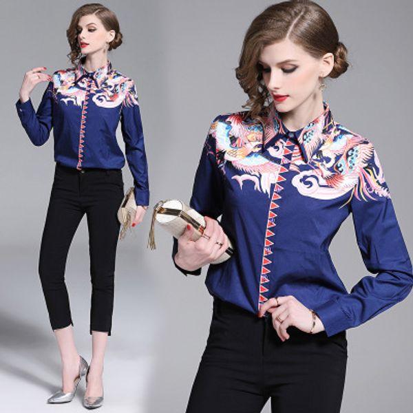 2019 donne primavera estate camicia stampa vintage moda manica lunga camicetta retrò casual top plus size blusas