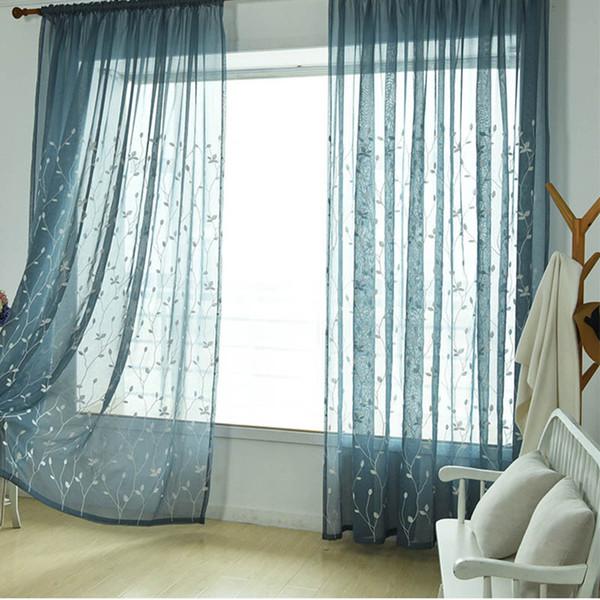 Bordado quente Sheer Curtains Folha de Salgueiro de Tule Voile Cortinas Haste Cortinas Da Janela de Bolso para Sala de Estar Quarto HR
