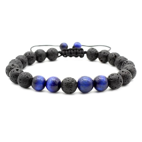 Braccialetto di perline di lava di pietra nera di lava di occhio di tigre 8mm Braccialetto di perline di amicizia bracciale di diffusore di olio essenziale di aromaterapia fai da te