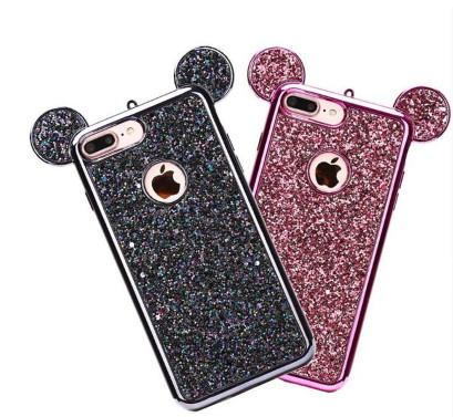 Luxury Rhinestone Glitter Bling 3D Mouse Ear Phone Case for iPhone X 8 8 Plus 7 7 Plus 6 6S Plus Soft Silicone Plating Back Cover