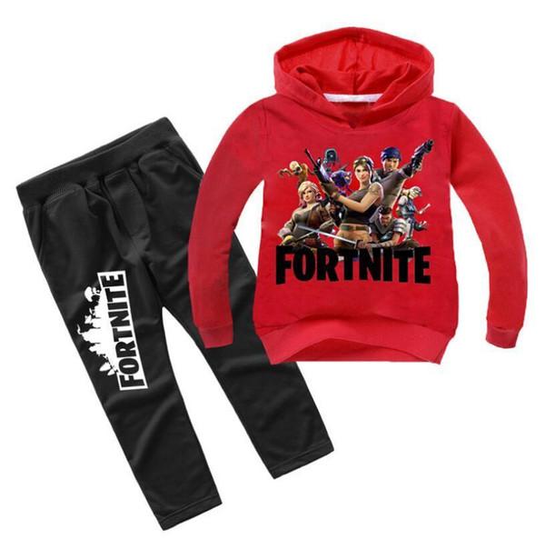 Çocuk Erkek Kız Serin Moda 2 Parça Hoodeds Ceket + spor Pantolon Eşofman Setleri 3-10years Çocuk Giyim J190513