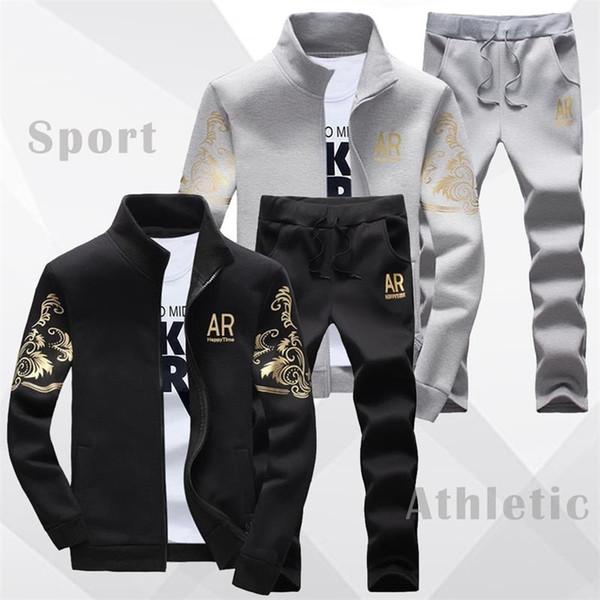 US SIZE Men Set Clohing Fashion 2019 Casual Tracksuit Men's Track Suit Gold-Print Classical Sweatshirt Jacket&Jogger Pants Male