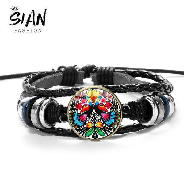 SIAN Brand Polish Folk Art Pattern Bracelet Folk Unique Flowers Crystal Gem Adjustable Multilayer Leather Bracelet Girls Jewelry
