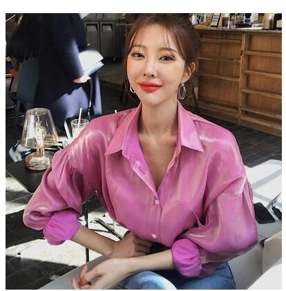 2019 Nouvelle couleur brillante dégradé de tissu brillant pour femmes de la mode descendre le col à manches longues chemise ample blouse