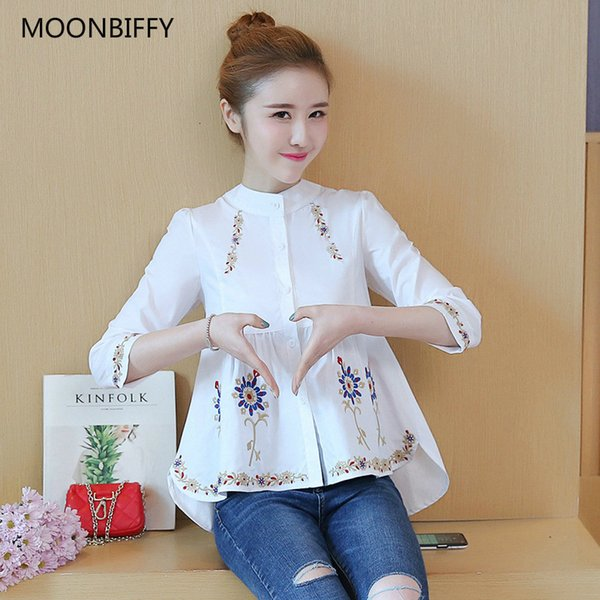 New Waist Pleated Embroidery Cotton Maternity Shirt Summer Blouse Tops Clothes for Pregnant Women Pregnancy ClothingMX190912