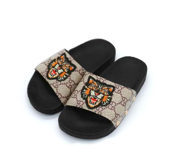 Sandales pour filles Pantoufles tigre Lettre Stripes Enfants Fond mou Garçons Filles Été Nouvelle Princesse Chaussures Maison Chaussures 457