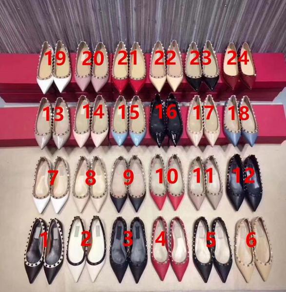 Top nuove donne scarpe tacco piatto rivetti ragazze sexy punta a punta fibbia piattaforma pompe scarpe da festa di nozze yb21