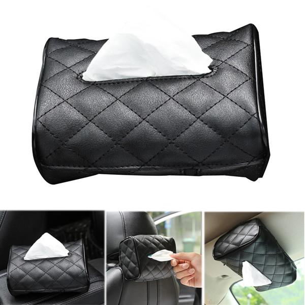 Tejido de coches caja de cuero parasol trasero de la silla de coche tipo colgante de tejido del organizador del bolso creativo de la servilleta de papel de la bandeja cubierta del sostenedor