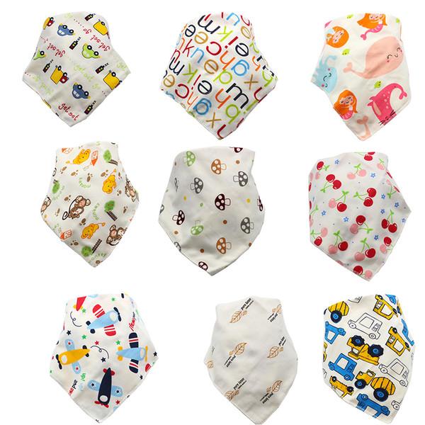 Karikatür bebek Üçgen bandana önlüğü yenidoğan Burp Bezleri 2019 bebek kız erkek Çift katmanlı pamuk yürüyor hayvan baskı önlükler C4395