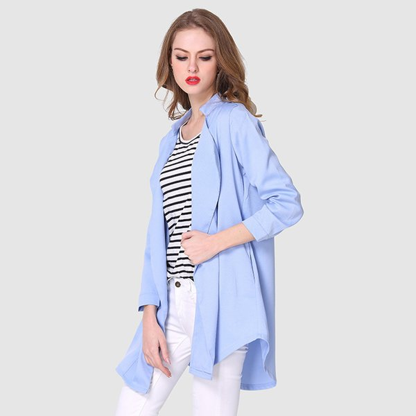 LHQ Spring and Autumn Women's Wear Long-style trench clothes with Large Size and Standing Collar Long Sleeves