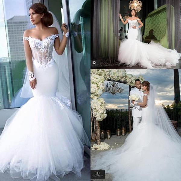 Vestidos de novia de sirena con hombros descubiertos y encaje con apliques de tul Capilla Ttain Vestido de novia Ilusión Tallas grandes Vestidos De Novia AL2749
