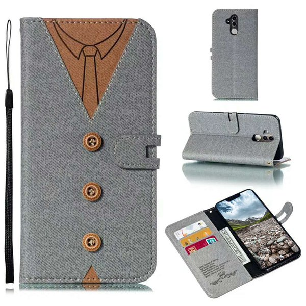 Flip Cover Wallet Case Card Slot Kickstand Case T Shirt Fabric with Men Women Tie for iPhone X Samsung J3 2018 OPP Bag