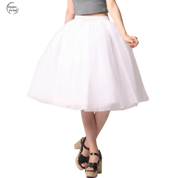 Le donne principessa Tulle gonna al ginocchio lunghezza carino Junior Girls Lolita Plus Size Grunge Jupe Femminile Una linea Gonne Nuova Puff