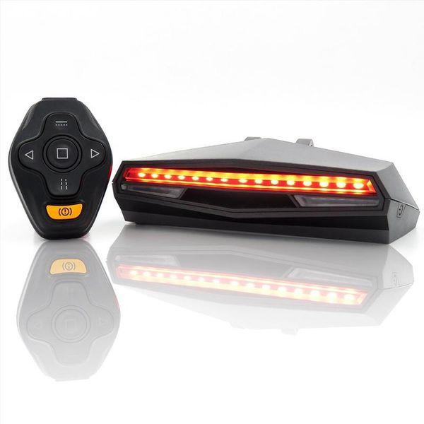 Luce per bicicletta USB Luce di posizione posteriore ricaricabile LED Luci di segnalazione posteriori Ciclismo Smart Wireless Telecomando Segnale di direzione