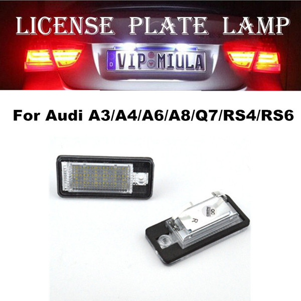 best selling Car Light For Audi A3 A4 A6 A8 Q7 RS4 RS6 LED License Plate Lamp White Color Auto Accessories For Audi Size 70x33x18mm