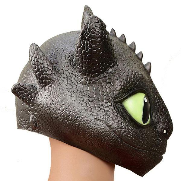 2Estilo Cómo entrenar a tu dragón 3 Máscara de cabeza 2019 Nuevos niños adultos Fiesta de Halloween cosplay Toothless Sombrero de látex natural Máscaras Juguetes C2
