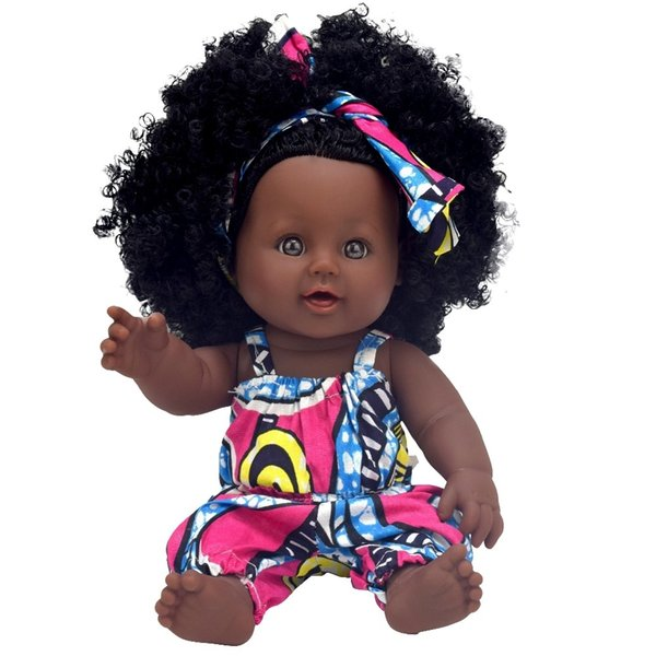 African Black Baby Doll Reborn Girl 12inch Yellow Boneca Corpo Inteiro De Silicone Reborn Baby Dolls Pop Lifelike Children MX190801