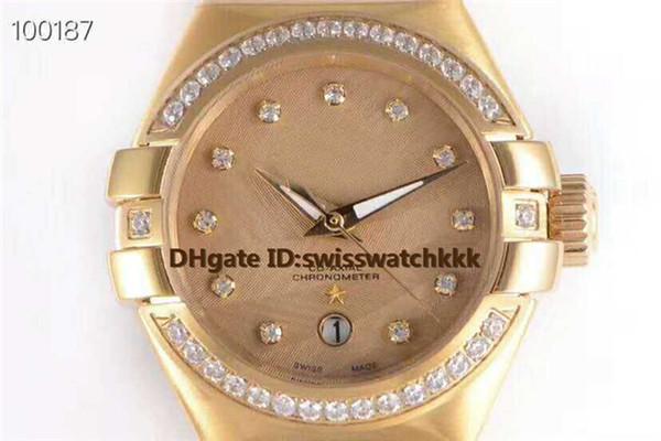New mens watch Swiss 8521 Automatic Sapphire Crystal Power reserve 48 hours Diamond Bezel 18K Yellow Gold transparent case back Mens Watch