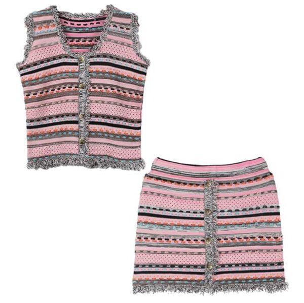 High end Women girls evening dress gown short sleeve dress v-neck tassel shirt and slim skirt Runway stretch knitted hollow out 2piece dress