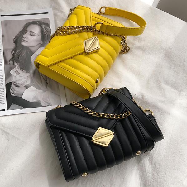 Lock Flip bag 2019 Summer Fashion New High Quality PU Leather Women's Designer Handbag Sweet Girl Chain Shoulder Messenger bag T190920