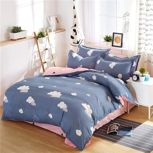 Hot sale Classic bedding set 5 size grey blue flower bed linen 4pcs/set duvet cover set Pastoral bed sheet AB side duvet cover
