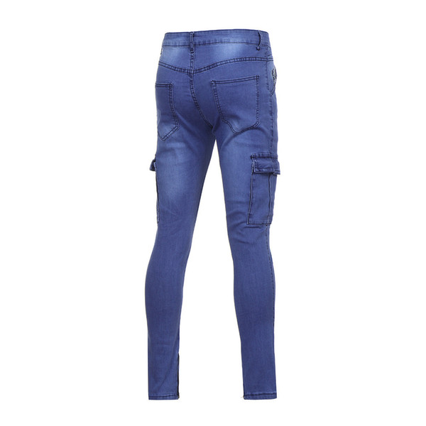 Mens Stretch Pant Distressed Ripped Freyed Slim Fit Pocket Jeans Trousers z01