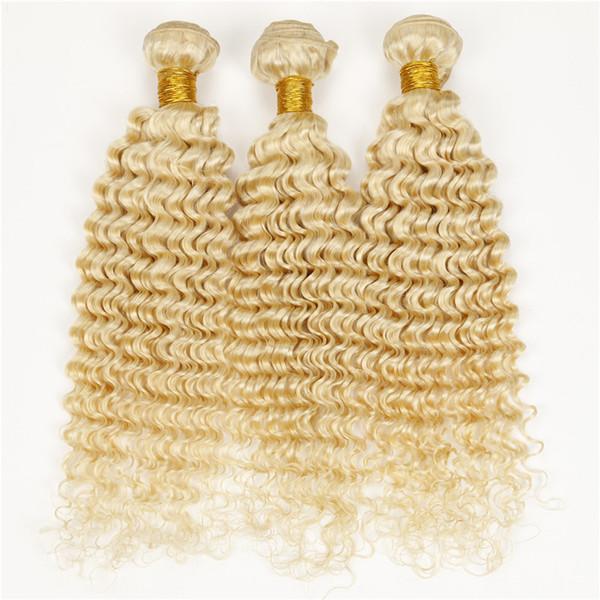 Blonde brasilianische tiefe gelockte Haarverlängerungen 7a 100% menschliche Haarwebart enge verworrene lockige Haare tiefe Welle 3pcs Jerry Curl # 613