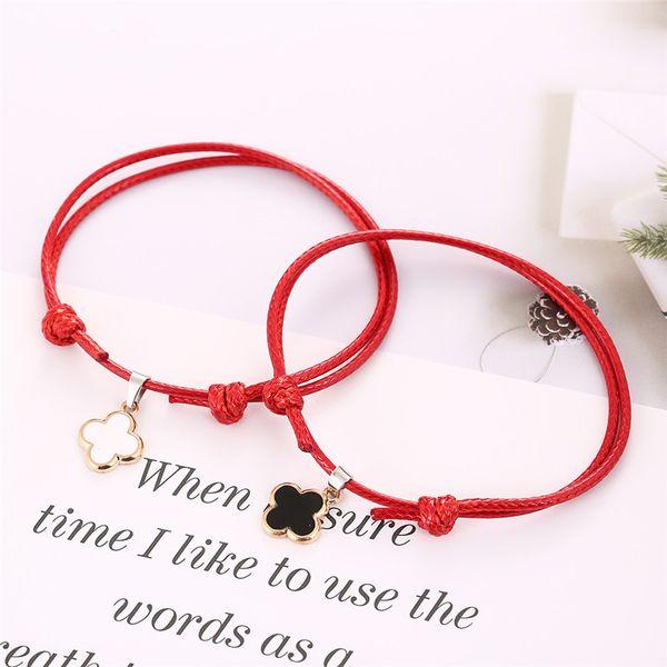 GFLV À La Mode De Mode Bracelet Trèfle À Quatre Feuilles Bracelet Tissé Corde Tempérament Amour Couples Trèfles Contracté Bijoux A041