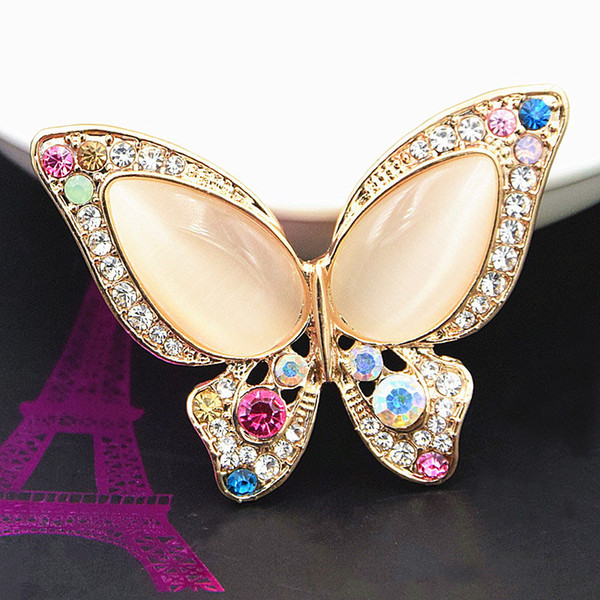 Opal papillon pour les femmes Brooches Classique Zircon mariage Broche Pins Animal femelle Luxe Party Mode Bijoux Cadeau New 2019