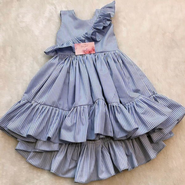 Pudcoco New Arrival criança Kid Baby Girl Verão listrado Princesa Partido Pageant Ruffle vestido Tutu