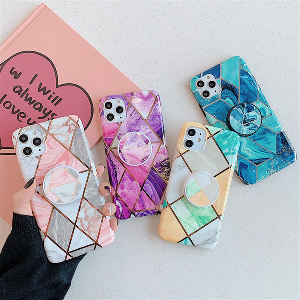 Bracket electroplating flower phone ca e for iphone 11 pro x max xr geometric marble pattern phone ca e for iphone 6 7 8 plu