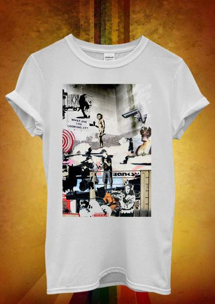Banksy Street Art Graffiti Desenhar Engraçado Das Mulheres Dos Homens Unisex T Shirt Tank Top Colete 619 camiseta Verão Estilo Moda Masculina Camisetas Top tee