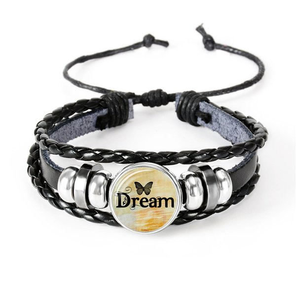Hot Sale Glass Dome DREAM Letter Multilayer Bracelet Black Leather Handmade Braided Bracelet Women Friend Delicacy Jewelry Gift