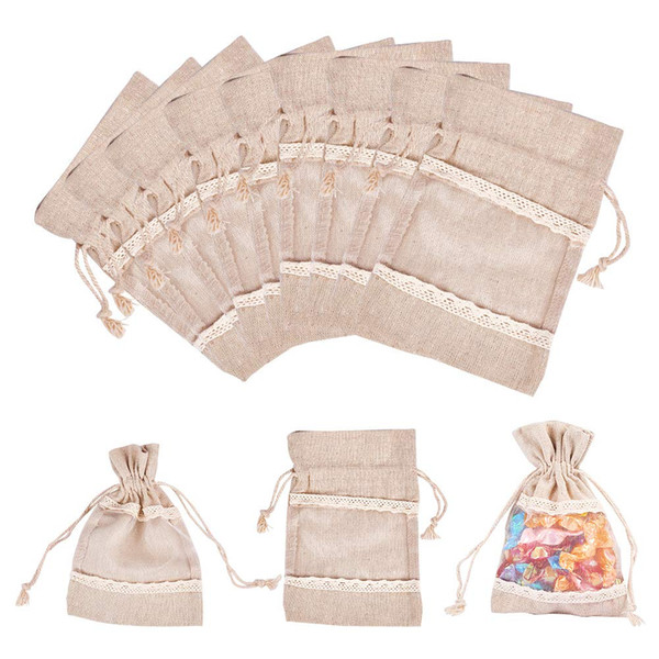 50PCS 3.9x5.5 inch Burlap Drawstring Bags with Lace Jewelry Pouches Bags Gift Bags Wedding Christmas Party Favor Pouches, Tan
