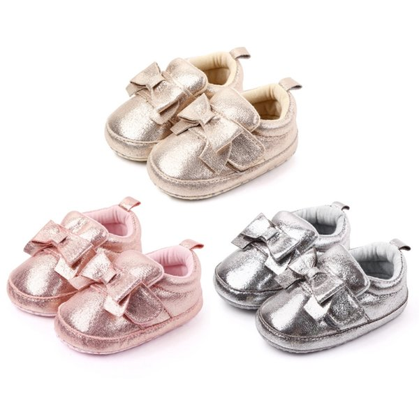 0-12m baby girl pu leather shoes non-slip sequins bowknot design soft shoes prewalker walking toddler kids drop shipping