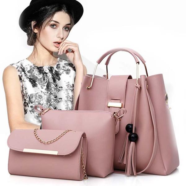 Nouveau Mode Femmes 3pcs / set Sac À Cosmétiques PU Cuir Maquillage Sacs Casual Tassel Decors Épaule Tote Bag