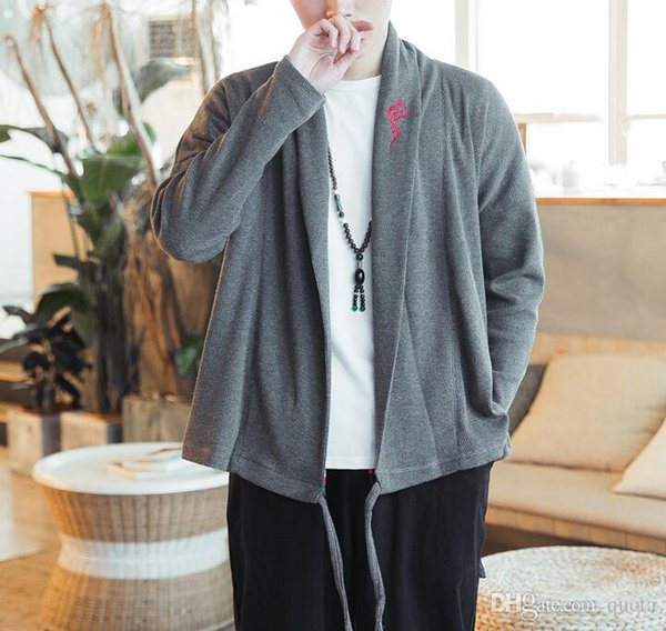 Sweatshirt Men Cardigan Chinese Style Embroidery Loose Sweatshirt Casual Design New Hoodie Coat