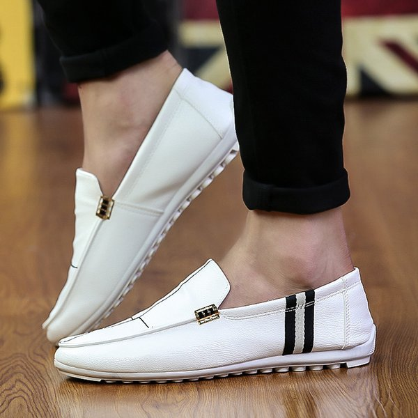 Spring new casual bean men's shoes hit the color of a hundred leather men's single shoes driving shallow foot Tide 622