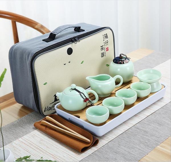 2019 ceramic travel tea set portable car accompanying package Kung Fu gift set tea set Free shipping