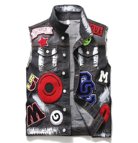 Mens Punk Rock Embroidery Vest Motorcycle Club Male Denim Biker Vest Eagle Patch Painted Multi Badges Sleeveless Jackets