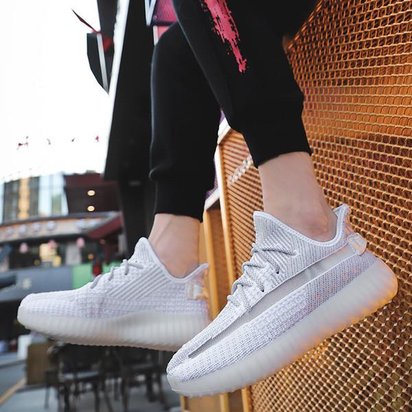 19 новых мужчин черный статический крем кунжут канье уэст глина истинная форма отражающей гиперпространство 3 м Gid Glow Wave Runner женщины кроссовки кроссовки