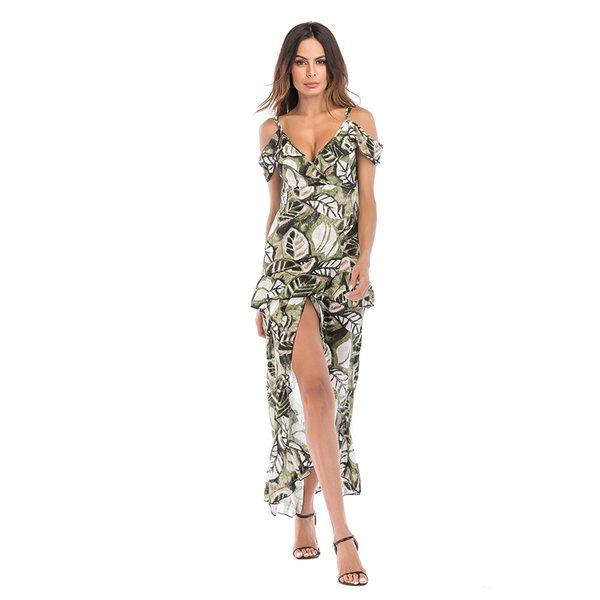 Mulheres Floral Vestido De Comprimento Do Tornozelo-Split Praia Vestidos De Festa Boho Profundo Decote Em V Sexy Chiffon Vestido Longo