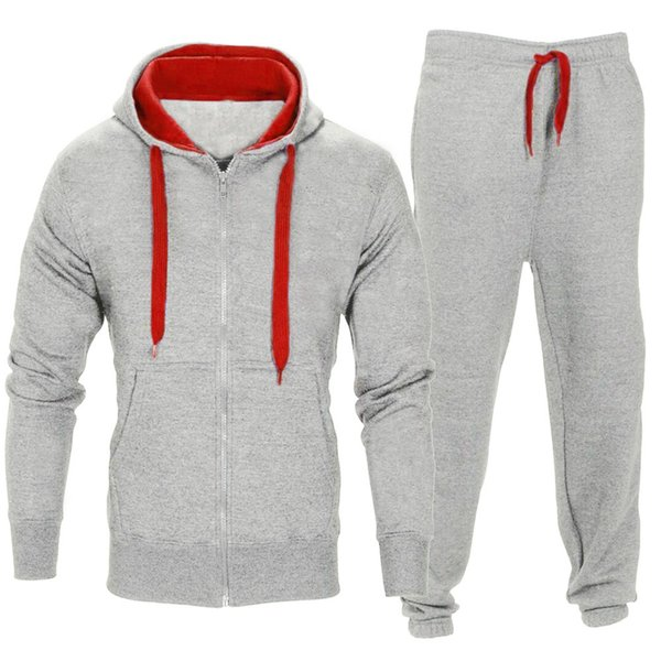 Laamei Zipper Tracksuit Men Set Sporting Two Pieces Sweatsuit Mens Clothes Printed Hooded Hoodies Jacket + Pants Track Suit Male