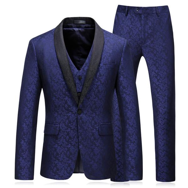 3pcs/Set Fashion New Men's Suits Casual Slim Fit Wedding Dress Party Wear One Button Large Size Vestido Longo dsy046