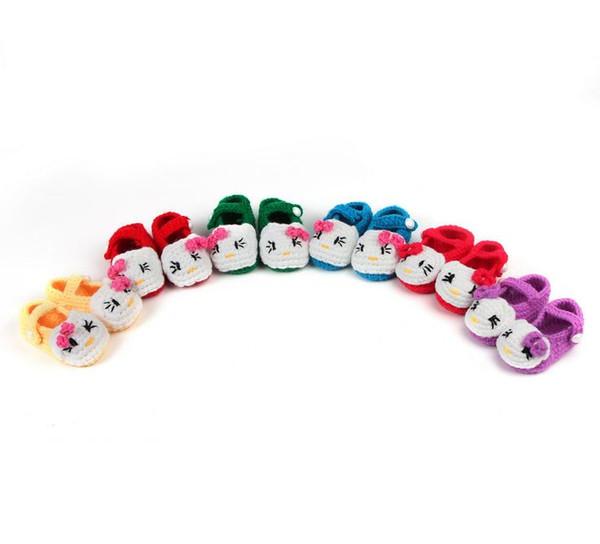 10 çift / grup Sıcak satış güzel yumuşak bebek erkek kız karikatür kedi elişi toddler ayakkabı çocuk beşik ayakkabı 11 cm toptan
