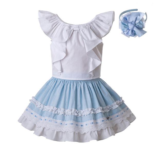 Pettigirl Mais Novo Crianças Designer Roupas Meninas Set Camisa De Algodão Branco E Céu Azul Plissado Saia Bonito Roupa Dos Miúdos G-DMCS201-C142