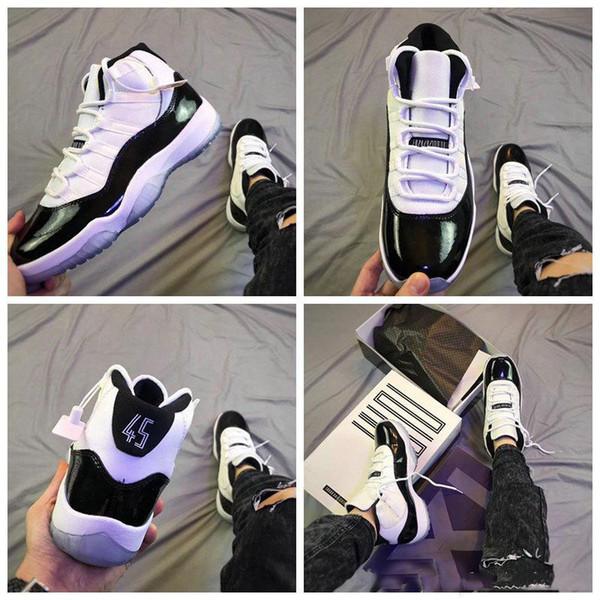45 Erkek Basketbol Ayakkabıları 11 11 s Siyah Beyaz 378037-100 Kadın Moda Eğitmeni KUTUSU ile Ücretsiz Kargo Spor Ayakkabı 5.5-13